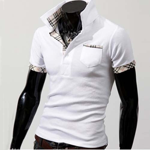 Turn-down Plaid Collar Short Sleeve Trendy Series Men Shirt
