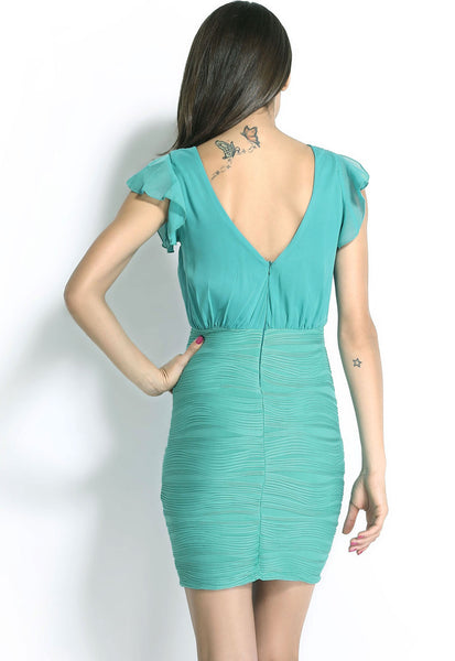Turquoise Wrap Ruffled V Neck Bubble Fabric Texture Bodycon Above Knee Mini Dres