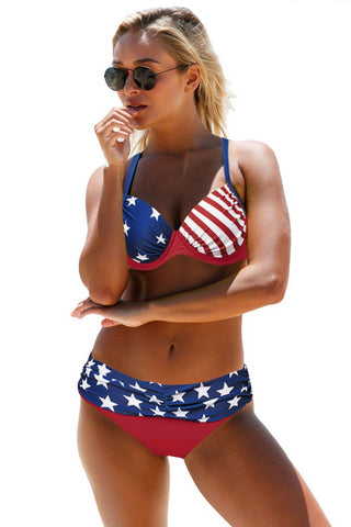 Two Pieces Swimsuit Her American Flag Padded Push- up Bikini Set Beachwear