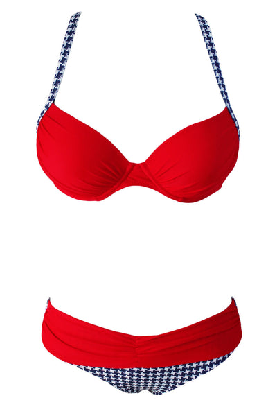 Two Pieces Swimsuit Her Fashion Red Padded Push- up Bikini Set Beachwear