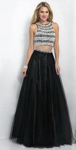 Two Pieces Black Beading Jewel Neck Backless Prom Dresses