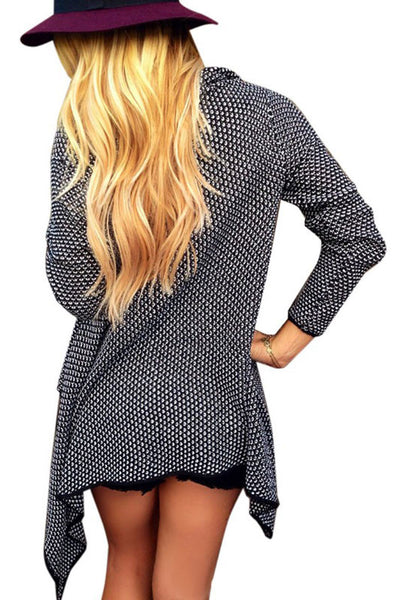 Two Tone Knit Black Cardigan