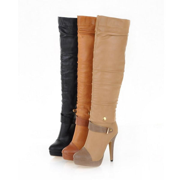 "Two Way Wear Ankle / Thigh High Heel Motorcycle Soft Leather Boots ""Trendy Series"""
