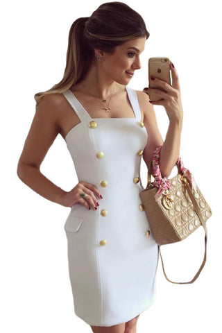 Ultra Elegant Gold Button Simply Chic Pocket Mini Dress