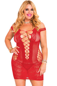 Ultra Short Sheer Hollow-Out Plus Size Red Lingerie
