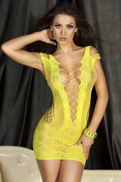Ultra Short Sheer Hollow-Out Women Yellow Lingerie