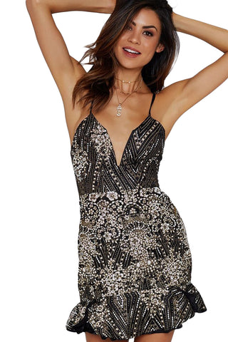 Ultrashort Style Glittering Deco Black Lacing Back Her Party Mini Dress