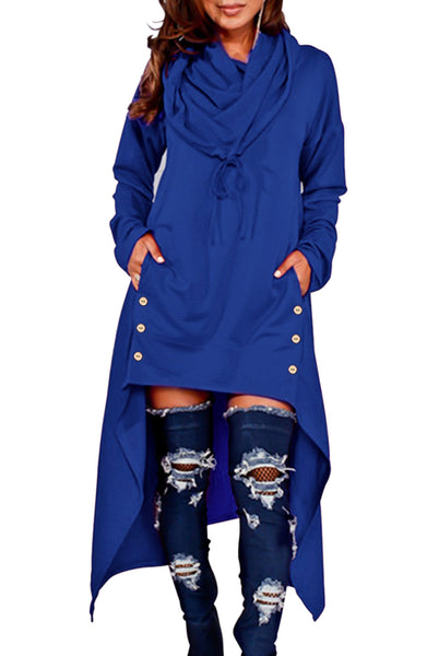 BIG'n'TRENDY Unique Blue Asymmetric Hem Sweatshirt Hooded Dress Top