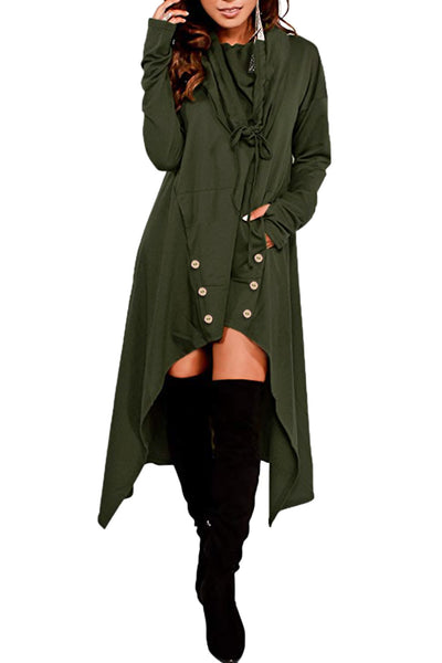 BIG'n'TRENDY Unique Green Asymmetric Hem Sweatshirt Hooded Dress Top