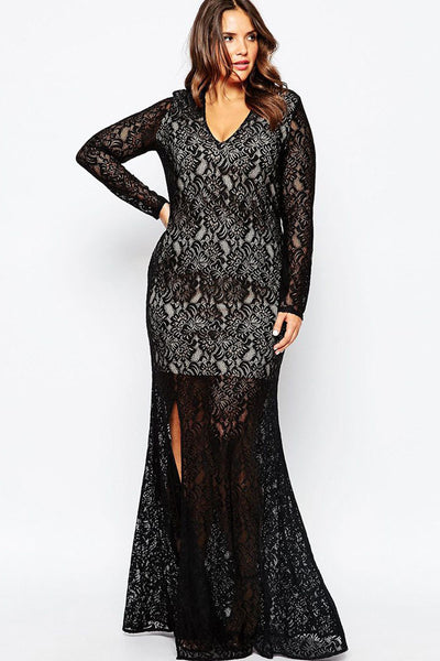 Unique Plunge V Neck Plus Lace Maxi Dress