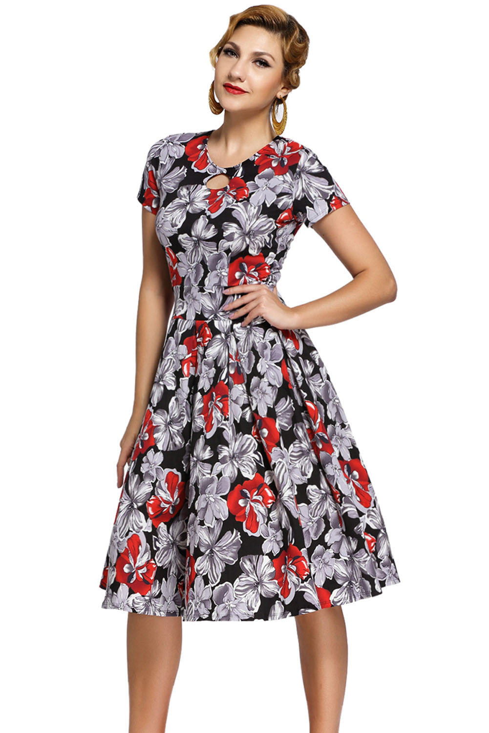 Unique Vintage 1950s Style Red Floral Short Sleeves Swing Dress