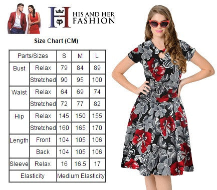 Unique Vintage 1950s Style Cherry Short Sleeves Swing Dress
