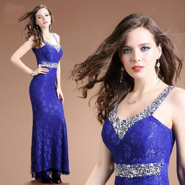"""Elegant Series"" Trumpet/Mermaid  V-Neck Beads Sequin Crystal Lace Dress"