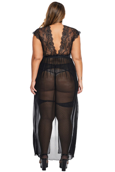 V-Neckline HerFashion Black Plus Size Locked Away Lover Lingerie Gown