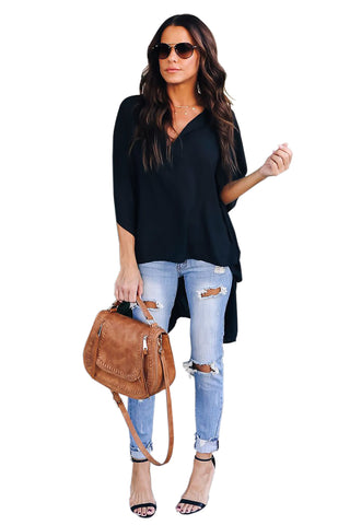 V-Neckline Stylish Shirt Her Fashion Black Chic High Low Kimono Top