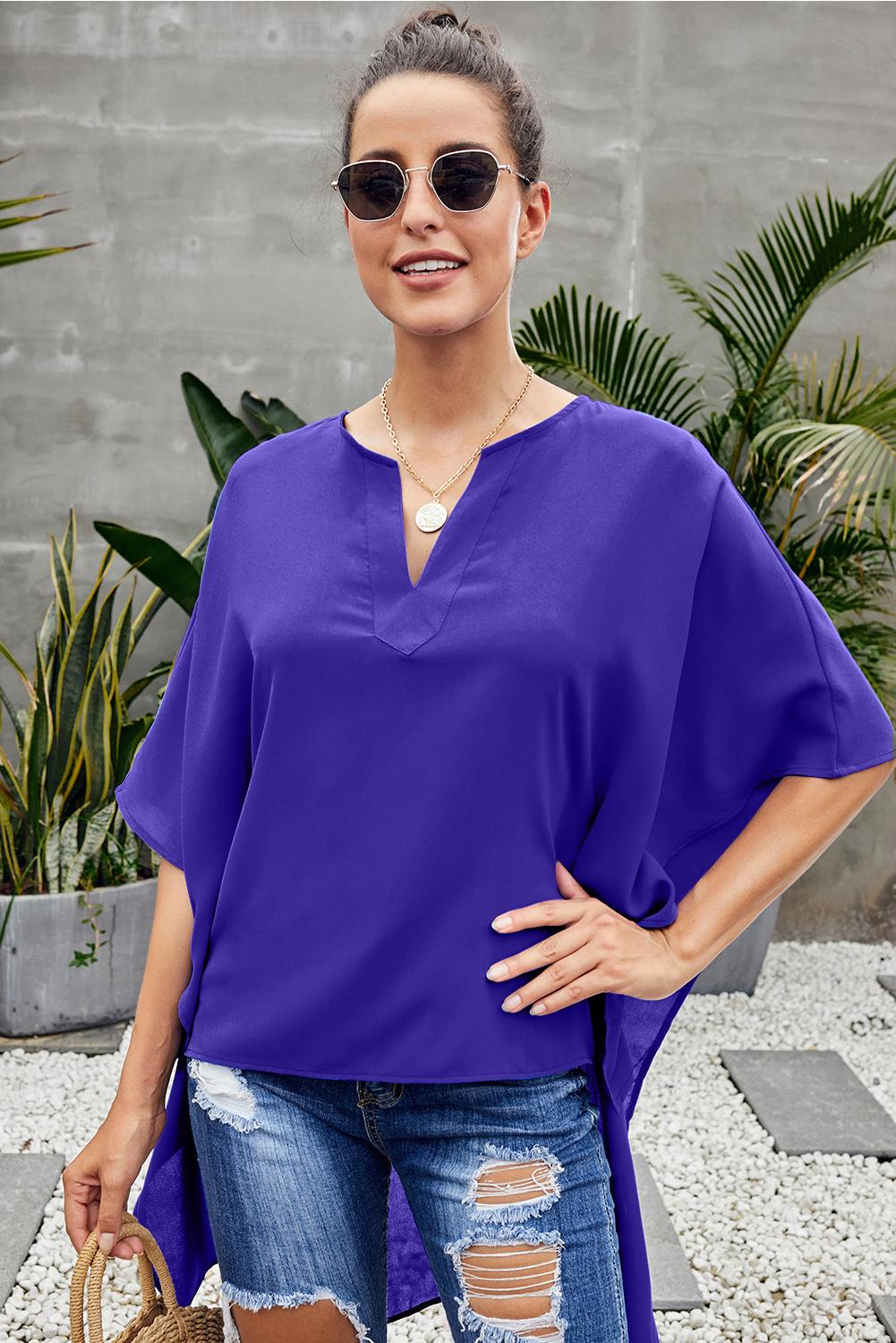 V-Neckline Stylish Shirt Her Fashion Blue Chic High Low Kimono Top