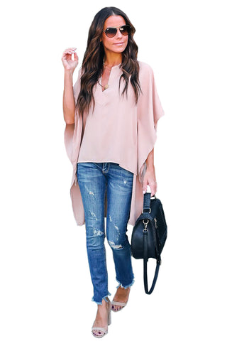 V-Neckline Stylish Shirt Her Fashion Pink Chic High Low Kimono Top