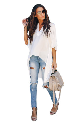 V-Neckline Stylish Shirt Her Fashion White Chic High Low Kimono Top