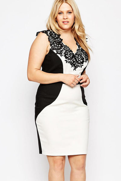 V-Neckline With Floral Embroidered Trim Plus Size Dress