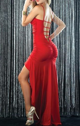 """Trendy Series"" V-neck  Low-Cut Hollow Out Dovetail One-Piece Tight Fitted Dress"