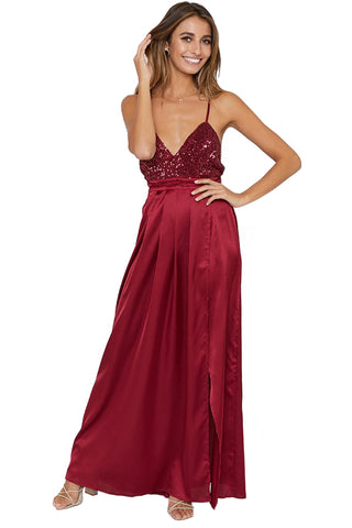 V-neckline Burgundy Her Fashion Sequined Silky Maxi Party Dress