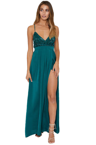 V-neckline Green Her Fashion Sequined Silky Maxi Party Dress