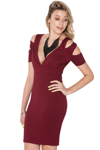 V-neckline Knockout Cut-out Bare Shoulder Bodycon Dress