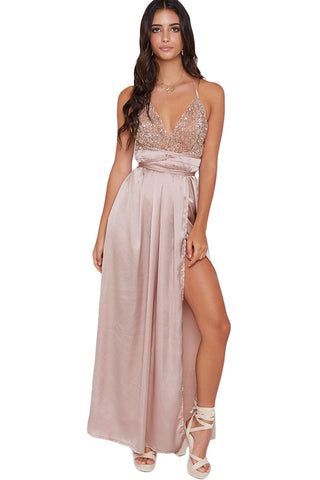 V-neckline Apricot Her Fashion Sequined Silky Maxi Party Dress