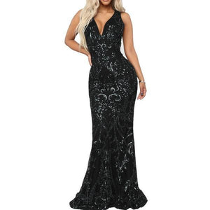 VNeck Sequined Her Fashion Black Elegant Maxi Party Mermaid Long Dress