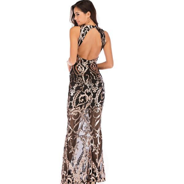 VNeck Sequined Her Fashion Gold Elegant Maxi Party Mermaid Long Dress
