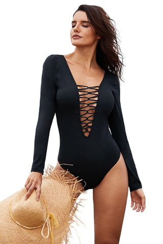 V Neckline Black Sexy Lace up High Cut Her Fashion One Piece Swimsuit