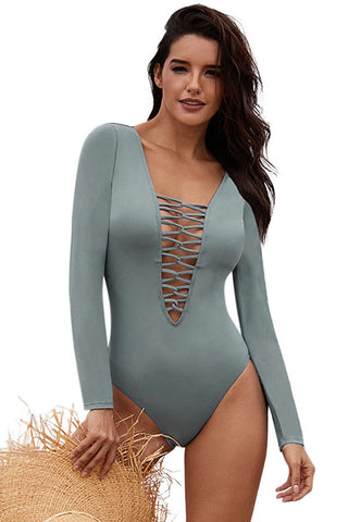 V Neckline Grey Sexy Lace up High Cut Her Fashion One Piece Swimsuit