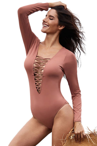 V Neckline Pink Sexy Lace up High Cut Her Fashion One Piece Swimsuit