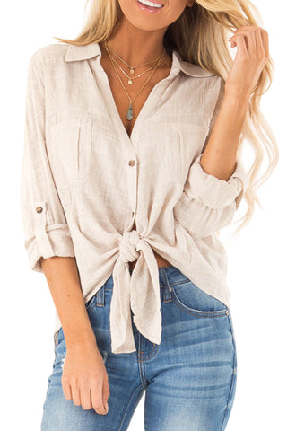 V Neckline Split Her Fashion Beige Button up Front Tie Top
