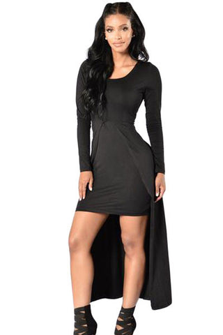 Victorious Black Front Split Long Sleeve Her Chic Maxi Dress
