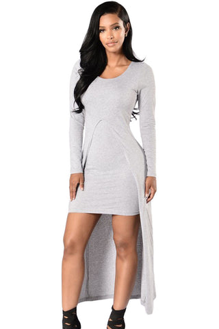 Victorious Grey Front Split Long Sleeve Her Chic Maxi Dress