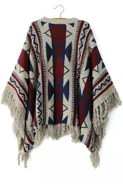 Vintage Geometric Fashion Print Loose Coat Poncho Sweater