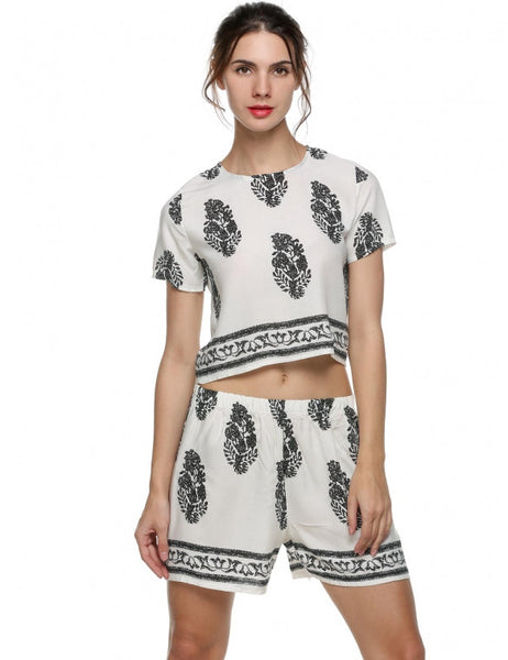 Vintage Style Women Casual Print Chic Two Piece Set
