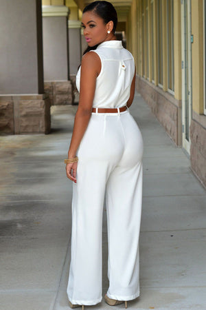Chic Standup Collar White Belted Wide Leg Jumpsuit