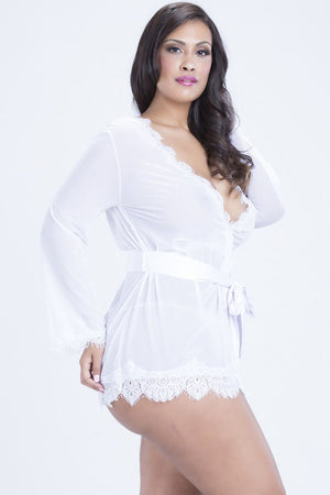 Extremely Sleek Plus Size HerFashion White Lace Trim Robe with Thong