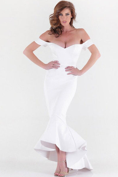 White Beautiful Party Off-Shoulder Mermaid Evening Dress