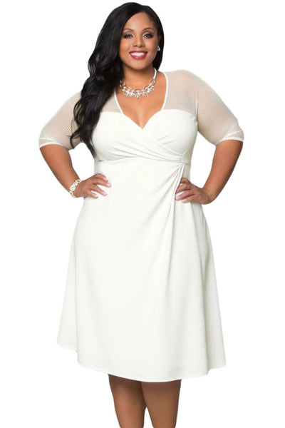White Big\'n\'Trendy Plus Size Edgy Twist Women Dress