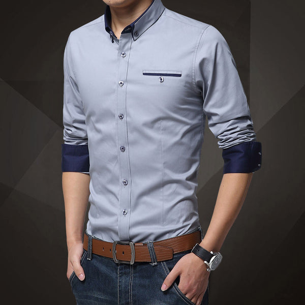 1d5ac1b77 His Fashion Light Blue Cotton Squared-Off Collar Classic Mens Shirt ...