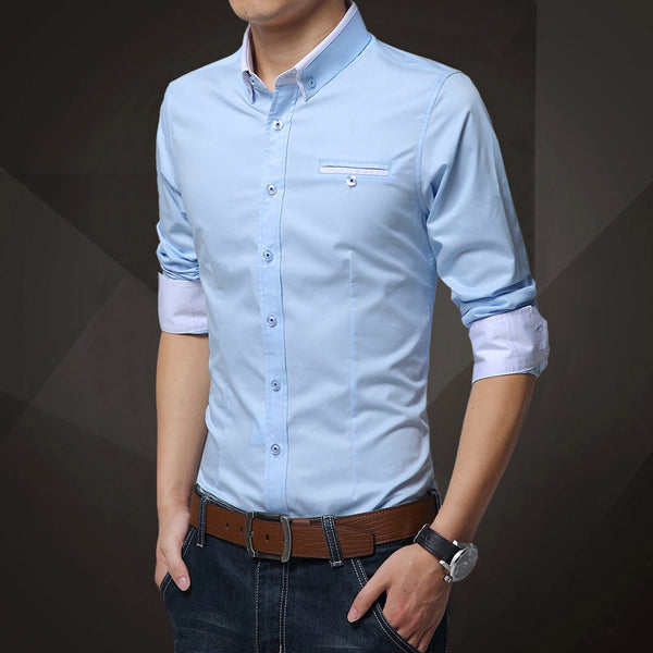 74ab5c6d1 His Fashion Light Blue Cotton Squared-Off Collar Classic Mens Shirt –  HisandHerFashion.com