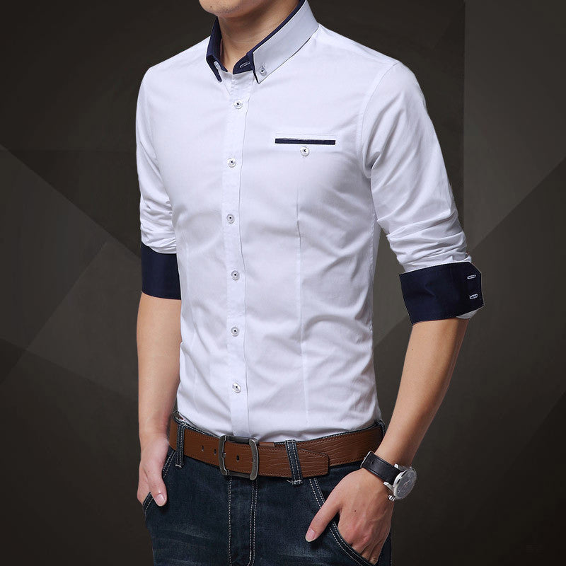 His Fashion White Cotton Squared-Off Collar Classic Mens Shirt