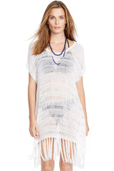 White Crochet Poncho Beach Cover Up