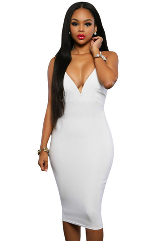 White Double Straps Cross Back V Neck Trendy Midi Dress