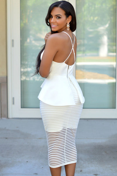 White Elegant Series V Neck Spaghetti Straps Backless Dress