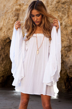 White Exquisite Chiffon Her Mini Dress