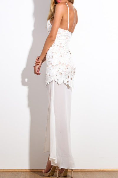 White Floral Applique Maxi Dress